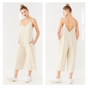 Urban Outfitters Beige Oversized Linen Jumpsuit